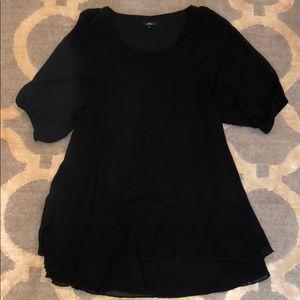 Millau Black Silky Layered Tunic w/ sheer sleeves